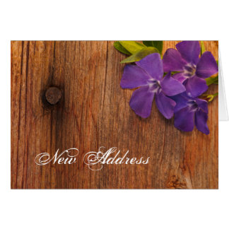 Purple Periwinkle and Barn Wood New Address Card