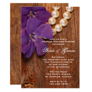Purple Periwinkle Barn Wood Couples Wedding Shower Card