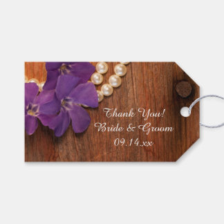 Purple Periwinkle Barn Wood Wedding Favor Tags