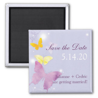 Purple + Periwinkle Butterfly Wedding Invitation Magnet