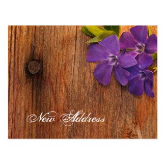 Purple Periwinkle Flowers Barn Wood New Address Postcard