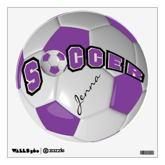 Purple Personalize Soccer Ball Wall Decal