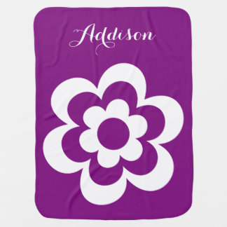 Purple Personalized Baby Blankets White Flower