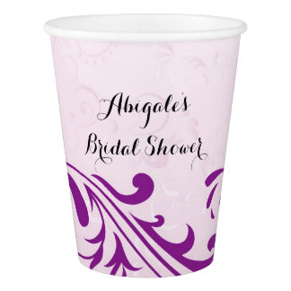 Purple Personalized Bridal Shower Party Drink Cups Paper Cup