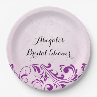 Purple Personalized Bridal Shower Party Plates 9 Inch Paper Plate
