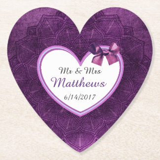 Purple Personalized Wedding Heart Coasters
