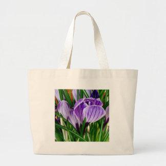 Purple Petals Crocus Flower Large Tote Bag