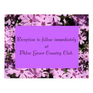 Purple Phlox Wedding Reception Card