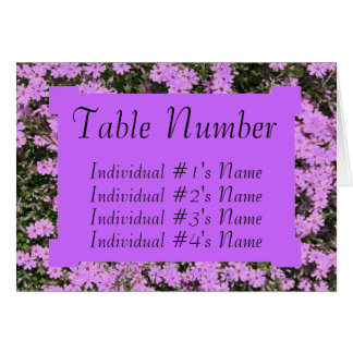 Purple Phlox Wedding Table Place Card Template