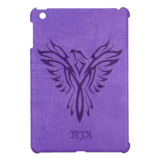 Purple Phoenix Fire Bird with Monogram, Initials iPad Mini Cover