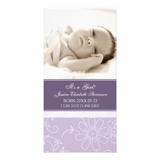 Purple Photo Template New Baby Birth Announcement Customized Photo Card
