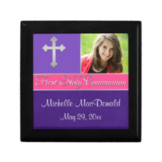 Purple, Pink 1st Communion Keepsake Jewelry Box