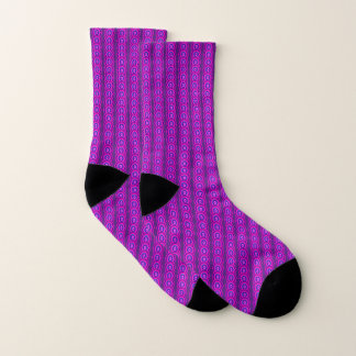 Purple Pink Abstract Floral Stripes Pattern Socks 1