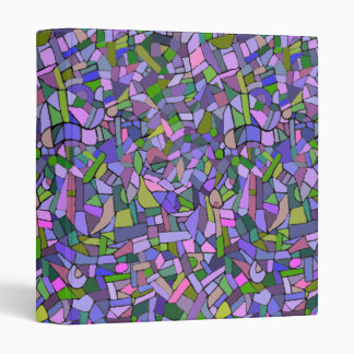 Purple Pink Abstract Mosaic Pattern Vinyl Binders