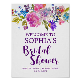 Purple Pink and Blue Flowers Bridal Shower Welcome Poster