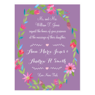Purple Pink and Green Floral Wreath Wedding Postcard