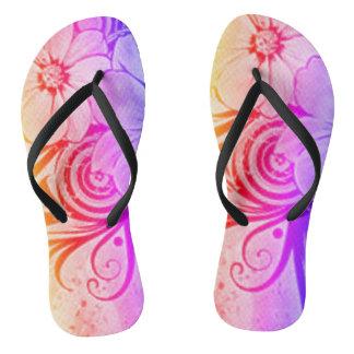 Purple, Pink and Orange Floral Flip Flops