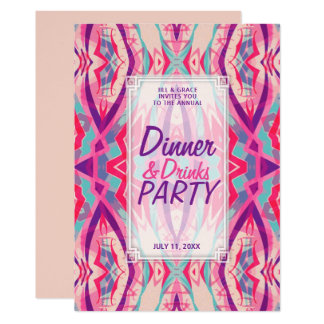 Purple Pink Aqua Boho Chic Dinner Drinks Party Card