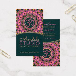 Purple Pink Aum Mandala OM Yoga Business Cards