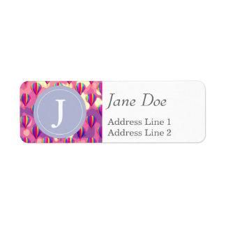 Purple Pink Balloon Pattern Return Address Label