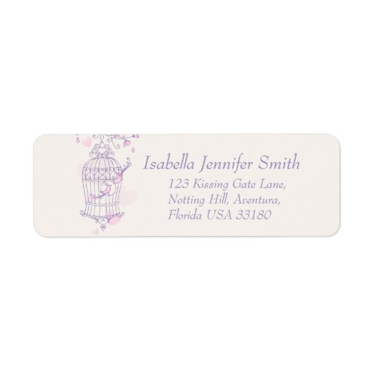 Purple pink bird cage wedding return address label