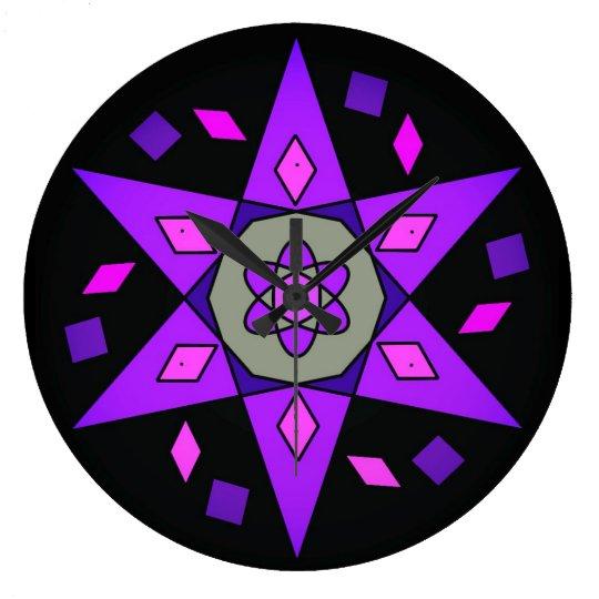 Purple Pink Black Cosmic Geometric Star Clock
