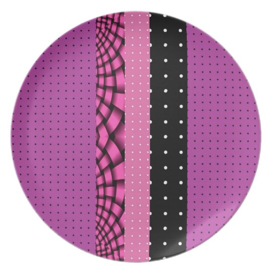 Purple Pink Black Pattern Plate