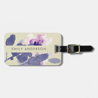 PURPLE PINK BLUE INK WASH WATERCOLOR FLORAL LUGGAGE TAG