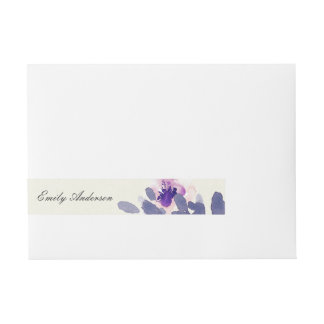 PURPLE PINK BLUE INK WASH WATERCOLOR FLORAL WRAPAROUND ADDRESS LABEL