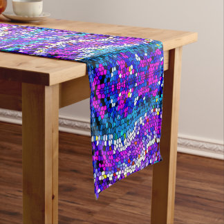 Purple Pink Blue Mosaic Tile Pattern Table Runner