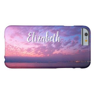 Purple pink & blue ocean sunset photo custom name barely there iPhone 6 case