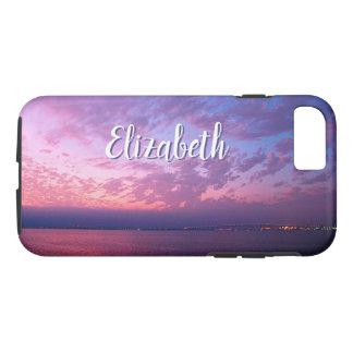 Purple pink & blue ocean sunset photo custom name iPhone 8/7 case