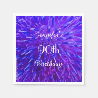Purple Pink Blue Paper Napkins 90th Birthday Party