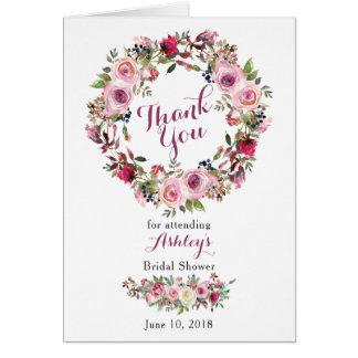 Purple Pink Boho Rose Bridal Shower Thank You Card