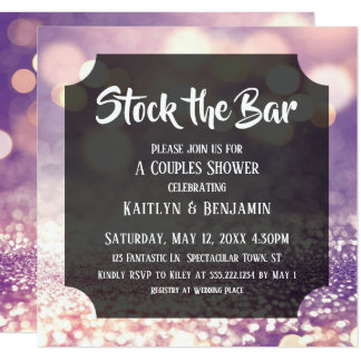 Purple & Pink Bokeh, Stock the Bar Couples Shower Card