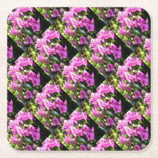 Purple Pink Bougainvillia In Blossom Square Paper Coaster