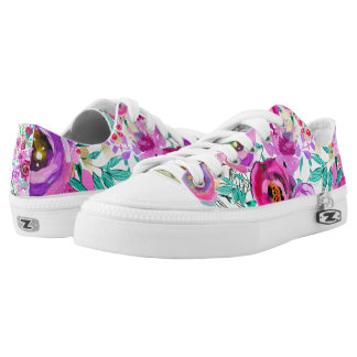Purple Pink Bright Colorful Bold Modern Floral Low-Top Sneakers