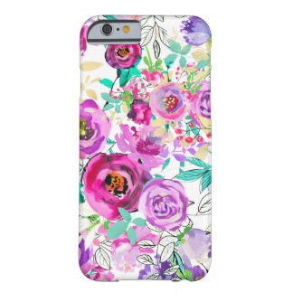 Purple Pink Bright Colorful Chic Modern Floral Barely There iPhone 6 Case