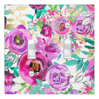 Purple Pink Bright Colorful Chic Modern Floral Light Switch Cover
