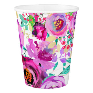 Purple Pink Bright Colorful Modern Floral Party Paper Cup