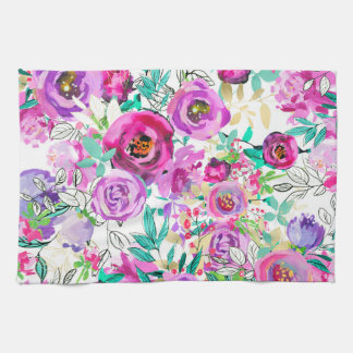 Purple Pink Bright Colorful Modern Floral Pattern Kitchen Towel