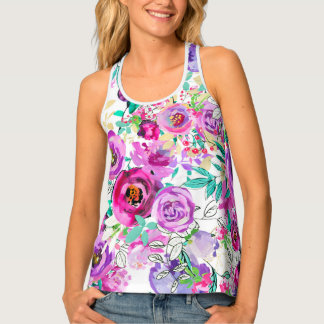 Purple Pink Bright Colorful Modern Floral Pattern Tank Top