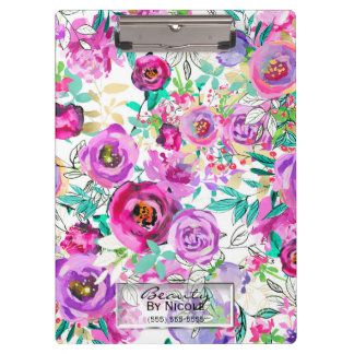 Purple Pink Bright Modern Floral Personalized Clipboard