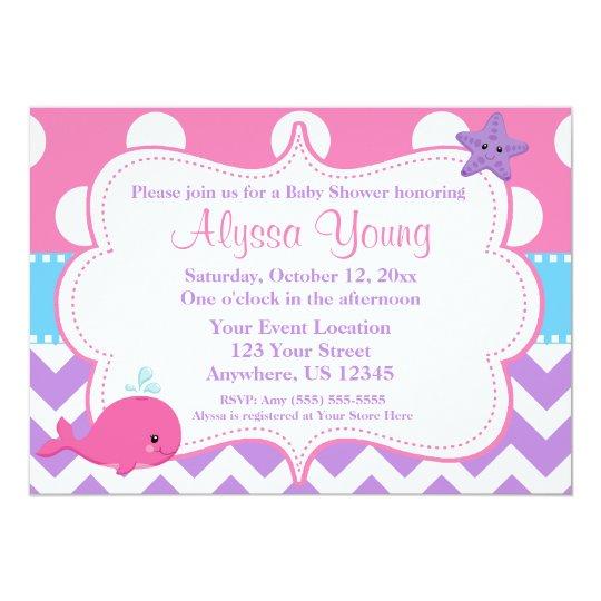 Purple Pink Chevron Whale Invitation