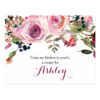 Purple Pink Chic Rose Floral Recipe Card