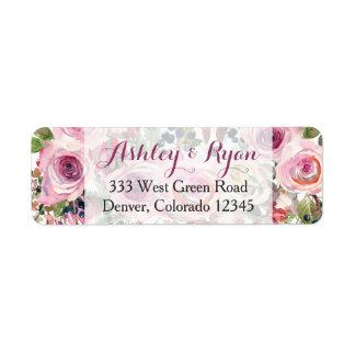 Purple Pink Chic Rose Floral Wedding Address Label