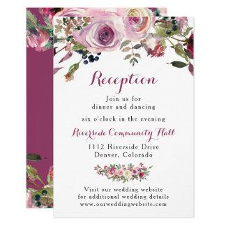 Purple Pink Chic Rose Floral Wedding Reception Card