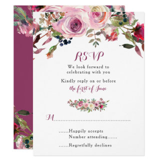 Purple Pink Chic Rose Floral Wedding RSVP Card