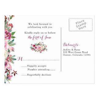 Purple Pink Chic Rose Floral Wedding RSVP Postcard