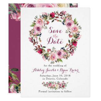 Purple Pink Chic Rose Floral Wedding Save the Date Card